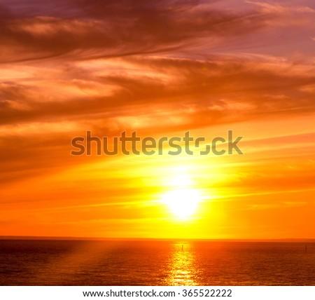 Burning Skies Sunset Paradise  - stock photo