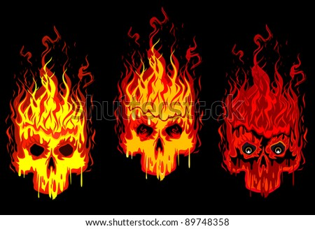 Burning skulls for tattoo or mascot design. Vector version also available in gallery - stock photo