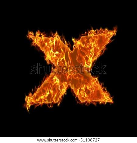 Burning small X symbol - stock photo