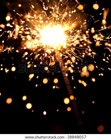 burning sparklers massive firework with large group of particles