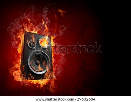Burning speaker - stock photo
