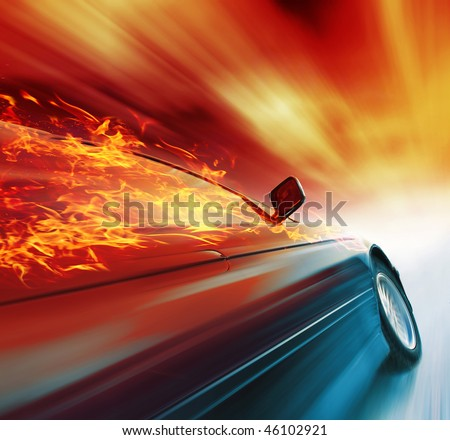 Burning sport car in motion with red blurry clouds - stock photo