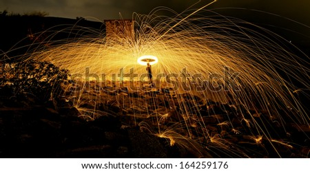 Burning steel wool fireworks  - stock photo