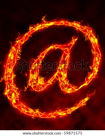 Burning symbol with flames on black background.