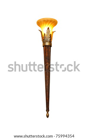 Burning torch in ancient style. Isolated on white - stock photo