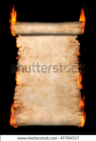 Burning vintage roll of parchment isolated on black background - stock photo