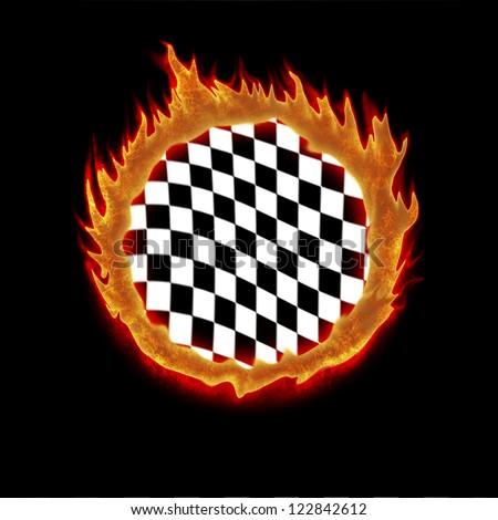 burning white black chekered racing flag illustration - stock photo