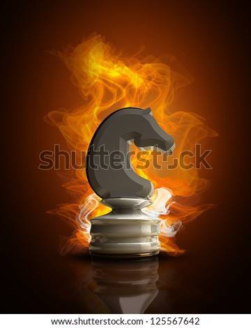 Burning white chess horse in Fire. high resolution 3d illustration