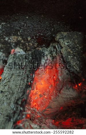 Burning wood and embers
