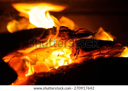 burning wood in fireplace - stock photo