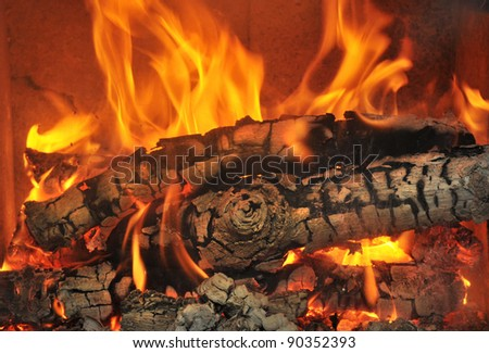 Burning wood in the fireplace and the flames - stock photo