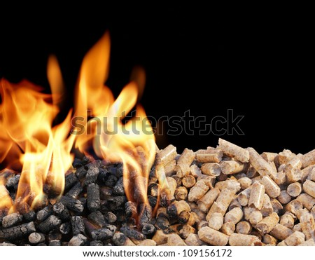 Burning Wood Pellets. Wood pellets are a type of wood fuel. - stock photo