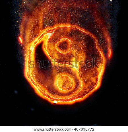 Burning yin-yang sign