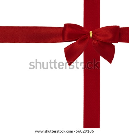 Burnished red satin ribbon with bow isolated over white background.