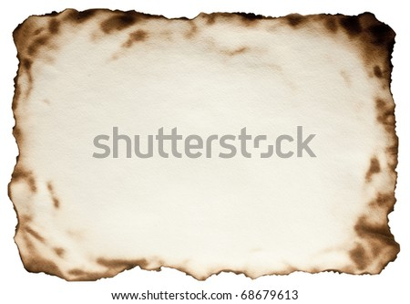Burnt at the edges textured paper against isolated on a white background. File contains the path for cut. - stock photo