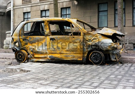 Burnt car - stock photo