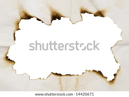 burnt frame isolated on a white