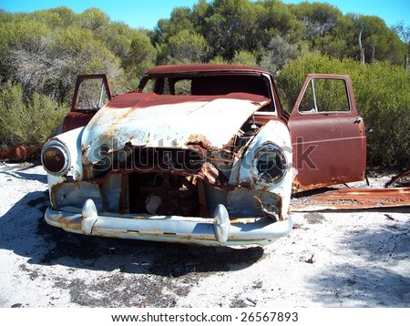 Burnt out old car - stock photo