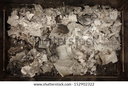 Burnt paper ashes texture - stock photo