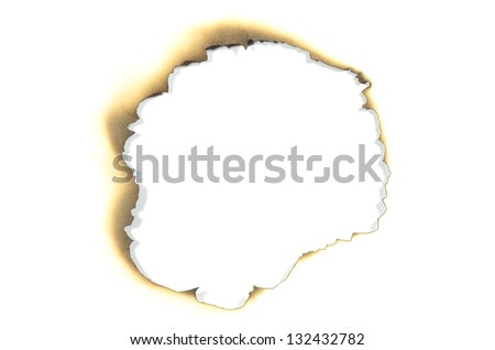 burnt paper hole on white background - stock photo