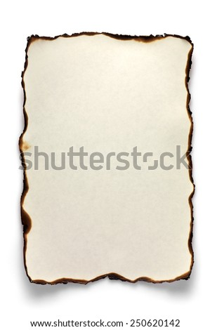 Burnt paper isolated on white background. Empty blank after the fire. - stock photo
