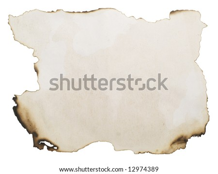 burnt paper isolated on white with copyspace for your text or image