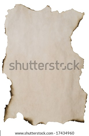 burnt paper with copyspace for your text or image isolated on white