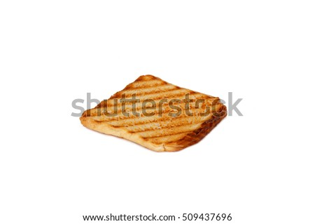 Burnt toasted bread, isolated on white background.