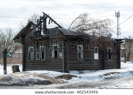 burnt wooden house