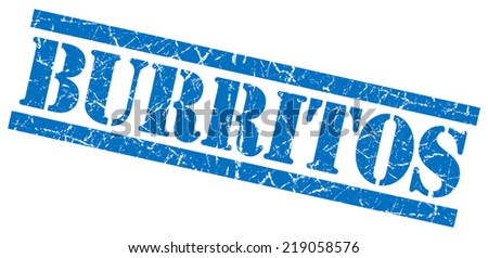 burritos blue square grungy isolated rubber stamp - stock photo