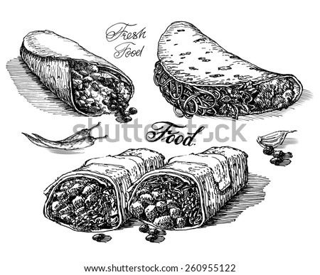 burritos, tacos on white background. fast food. sketch - stock photo