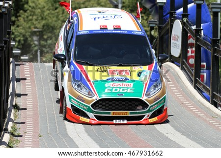 BURSA, TURKEY - JULY 23, 2016: Bugra Banaz drives Ford Fiesta R2T of Castrol Ford Team Turkiye in special stage of Yesil Bursa Rally