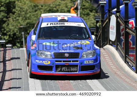 BURSA, TURKEY - JULY 23, 2016: Nuray Isik drives Fiat Punto S1600 in special stage of Yesil Bursa Rally