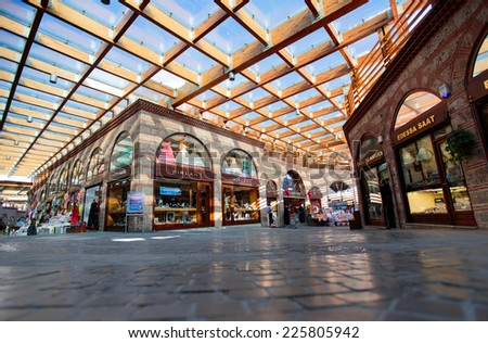 BURSA - TURKEY OCTOBER 20:Great mosque bazaar, considered to be the oldest shopping mall in history with jewelry, carpet leather, gift spice and souvenir shops on october 20 2014 in Bursa , Turkey