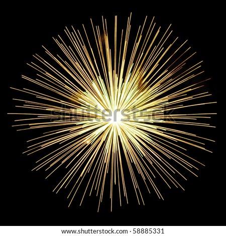 Burst of yellow-white fireworks on square background - stock photo