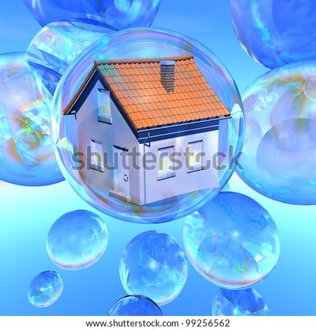 Bursting dreams Illustration of a dwelling house in a soap bubble surrounded by several empty soap bubbles - stock photo