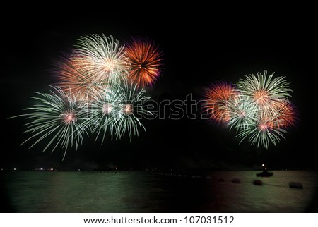 Bursts of colorful fireworks - stock photo