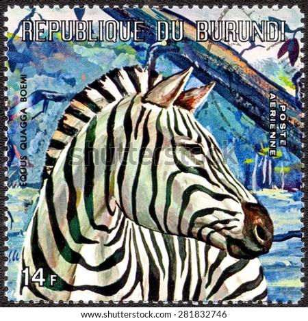 "BURUNDI - CIRCA 1973: A stamp printed by Burundi shows a series of images ""Animal World of Africa"", circa 1973 - stock photo"