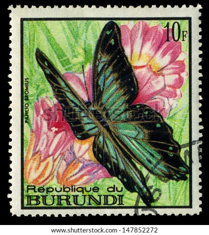 "BURUNDI - CIRCA 1968: A stamp printed in Burundi shows butterfly Papilio bromius, with the same inscription, from the series ""Butterflies"", circa 1968"