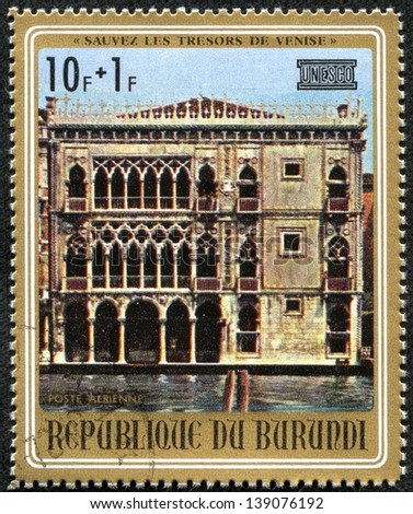 BURUNDI - CIRCA 1972: A stamp printed in Burundi shows Palazzo Santa Sofia, one stamp from series Treasures of Venice, circa 1972