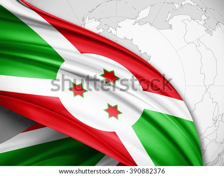 Burundi  flag of silk with copyspace for your text or images and world map  background
