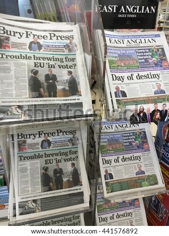 Bury Saint Edmunds, UK-June 23, 2016: local newspapers on sale on the day of the UK referendum, June 2016.