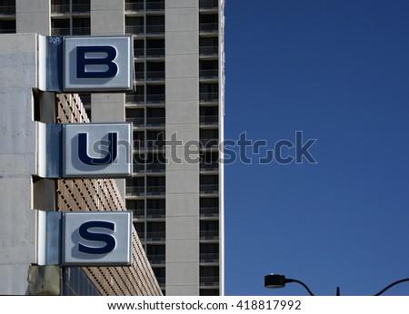 bus depot sign - stock photo