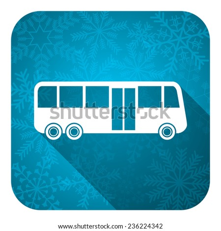 bus flat icon, christmas button, public transport sign