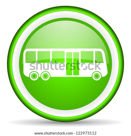 bus green glossy icon on white background