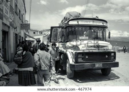 Bus in La Paz, Bolivia - stock photo