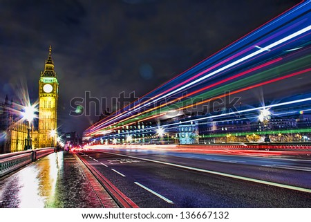 Bus Lane in Westminster Bridge, London - England - stock photo