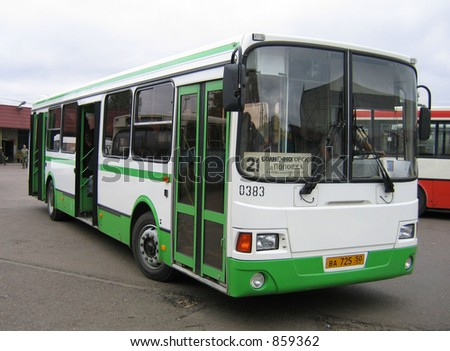 Bus on a bus station - stock photo