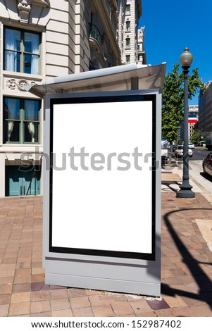 Bus shelter billboard in the city  - stock photo