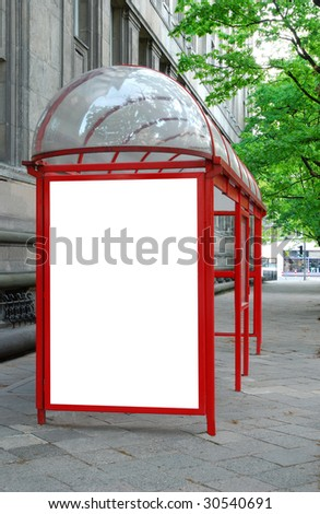 Bus shelter with space for advertising - stock photo